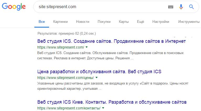 Результаты поиска сайта в Google
